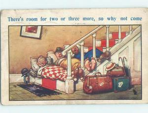 Bamforth comic LINE OF MEN SLEEPING ON THE STAIRS HL9253