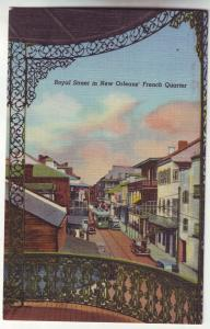 P794 vintage linen card old cars trolly front street new orleans french quarter
