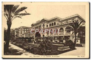 Old Postcard Menton Casino Municipal