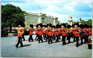 London, England UK Postcard Guards Band near Buckingham Palace Unused c1960s