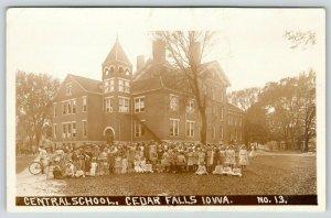 Cedar Falls IA~Girls Gather @ Central School~One w/Bike~Boys Behind~c1920 RPPC