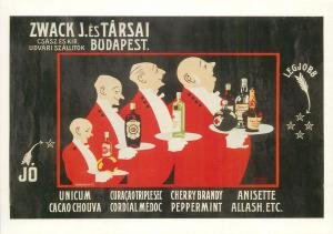 Unicum Hungarian liqueurs bitters drunk alcohol digestif advertising waiters