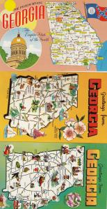 Georgia Map Greetings From 3x Postcard s