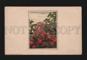 3077252 Flowers by SOMOFF Russia ART NOUVEAU vintage LITHO Rare