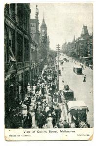 Collins Street Melbourne Australia 1910c postcard