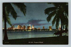 Miami FL-Florida, View of Miami at night, Airplane, Beach ,Ocean, Linen Postcard