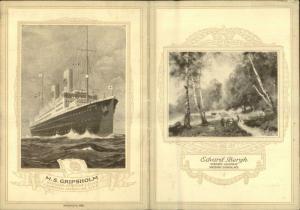 Swedish American Line Steamship MS Gripshold Fold Open MENU Card 1927