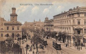 Poland Warsaw, Warszawa, Ulica Marszalkowska, animated, trams, commerce