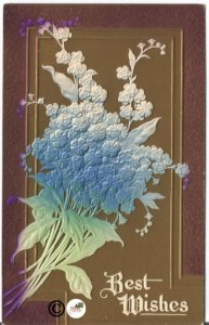 1912 Best Wishes Novelty Postcard Bouquet of Blue Forget-me-Not Heavily Embossed