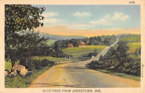 Jamestown Indiana Scenic Roadway Greeting Antique Postcard K101575