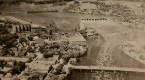 Vintage Postcard Aerial View Wisconsin Rapids Wisconsin Dam Bridge unposted  761
