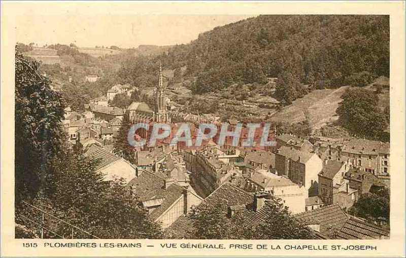 Postcard Old 1515 plombieres baths general view from the chapel st joseph