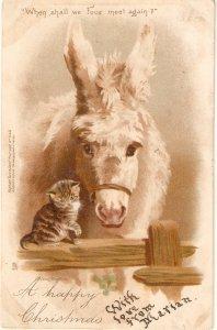 Horse and kitten. When shall we fourmeet again? Tuuck Christmas PC # 543