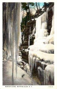 New York Watkins Glen Winter Scene Curteich