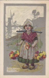 Easter Dutch Girl with Flowers 1916