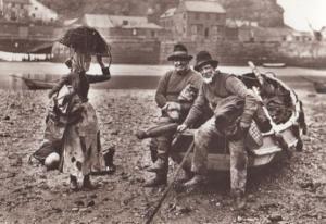 Tate Hall Sands Fishing Fisherman Rocking Boat Basket Lady Photo Rare Postcard