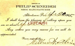 PHILIP SCHNEIDER SHOE MANUFACTURER, Apr 20, 1905 Any orders will be apppreciated