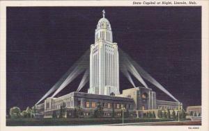Nebraska Lincoln State Capitol At Night