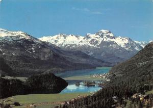 Switzerland Blick gegen Silvaplana, Oberengadin Lake Mountains Panorama