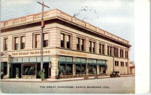 SANTA BARBARA, CA California  Street Scene The GREAT WARDROBE  1911   Postcard
