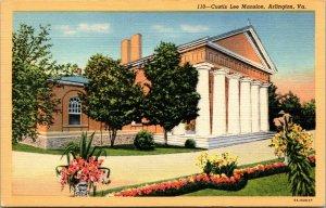 Arlington VA National Cemetery Custis Lee Mansion Confederate LINEN POSTCARD