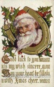 Santa Claus Christmas Unused very light crease left top corner , Unused