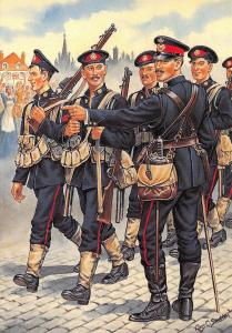 Postcard Uniforms of Royal Marines Light Infantry Plymouth Battalion 1914 #35-6