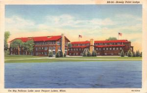 PEQUOT LAKES BREEZY POINT LODGE~BIG PELICAN LAKE MINNESOTA POSTCARD 1949
