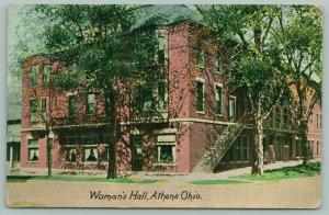 Athens Ohio University~Women's Hall~Sidesteps~Curtains & Plants in Windows c1910