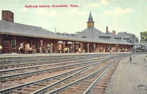 Greenfield MA B&M Railroad Station Train Depot Tracks Postcard