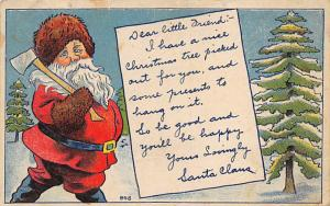 Santa Claus Postcard Old Christmas Post Card Writing on back