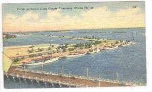 Yachts anchored along County Causeway, Miami, Florida,  PU-1946