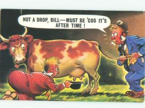 Pre-1980 Comic TRYING TO GET MILK FROM A COW AC0193
