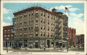 Harrisburg PA Columbus Hotel c1920s Postcard Signs in Windwos