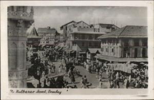 Bombay India Nulbazar Street Real Photo Postcard