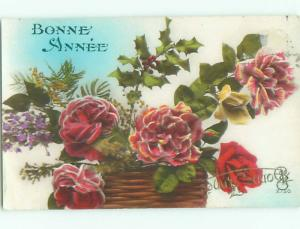 Very Old Foreign Postcard BEAUTIFUL FLOWERS SCENE AA4225