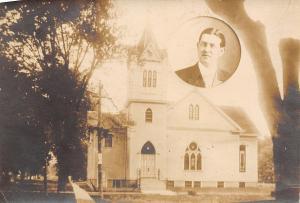 Augusta Illinois~Christian Church~Pastor Photo Inset~c1912 RPPC