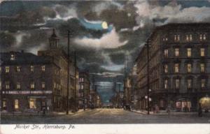 Pennsylvania Harrisburg Market Street At Night