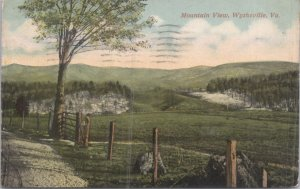 Wytheville VA Mountain view and farm field 1918