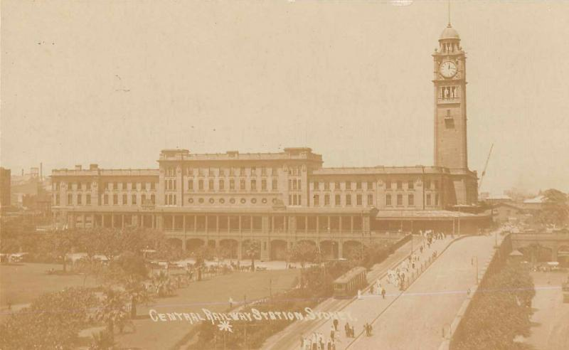 Syndney Australia Central Railway Station Real Photo Antique Postcard (J33030)