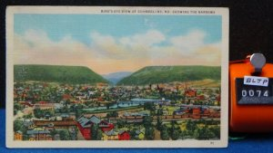 STD Vintage Birds Eye View of the Narrows Cumberland Maryland Posted 1941 Linen