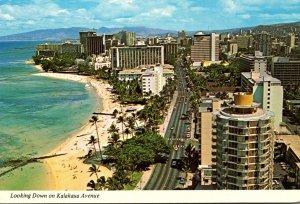 Hawaii Waikiki Beach  Aerial View Looking Down Kalakaua Avenue