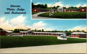 Mercer PA 1950s Warren Motor Lodge linen Newton Falls OH Trumbull Co Postcard PC