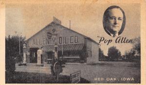 Red Oak Iowa~Pop Allen Oil Co~Conoco Gas Station~Glass Pumps~Hamm's Beer~c1930