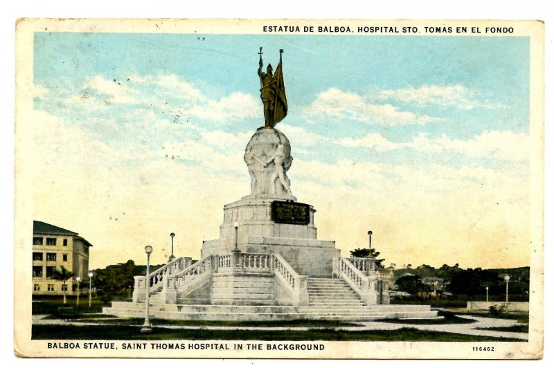 Panama - Panama City. Balboa Statue, St. Thomas Hospital