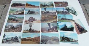 LOT OF 22 VINTAGE POSTCARDS train railway railroad