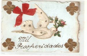 Dove carrying roses Old vintage French novelty postcard