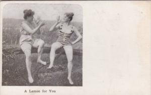 Vintage Risque Arcade Card Women In Underwear A Lemon For You