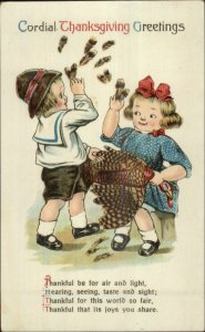 Thanksgiving - Kids Plucking Turkey Feathers & Poem c1910 Postcard