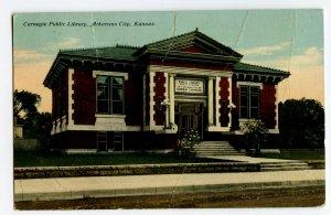Postcard Carnegie Public Library Arkansas City Kansas Standard View Card